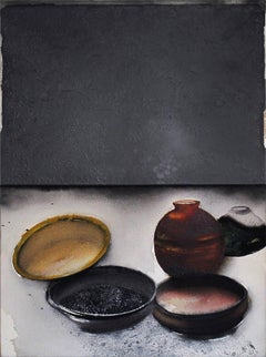 "Classical Shape, Still Life, Acrylic, Pigment, Red, Brown, Black ""In Stock"""