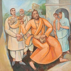 "Raga, Baul Singer, Oil, Acrylic Painting, Orange, Red, Blue colors ""In Stock"""