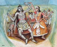 "Bohurupee, Shiva & Parvati, Oil & Acrylic Painting, Red, Blue, Orange ""In Stock"""