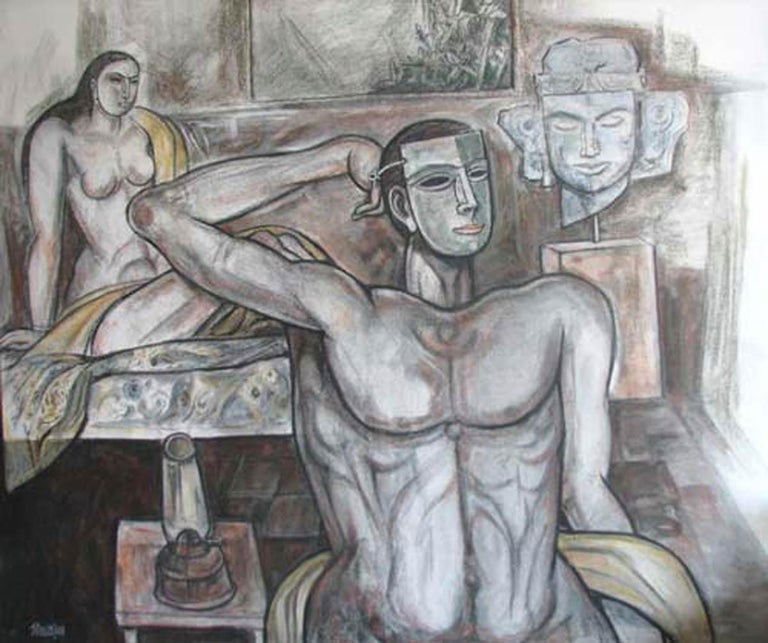 """Nude Painting, Mixed Media on canvas, White, Black, Pink, Browncolors """"In Stock"""" - Mixed Media Art by Bijan Choudhury"""