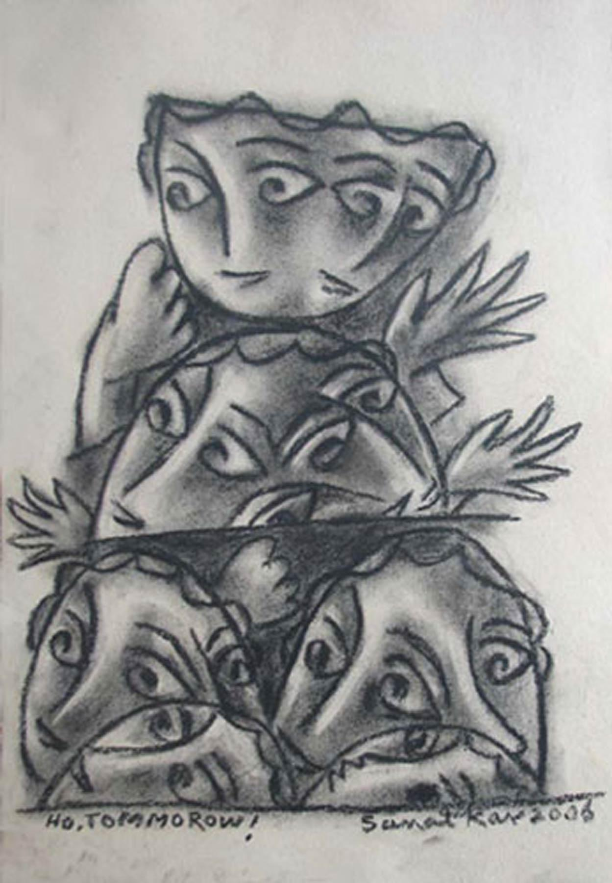 """HO. TOMMOROW, Drawing, Mixed Media & Charcoal on paper, Black & White """"In Stock"""""""