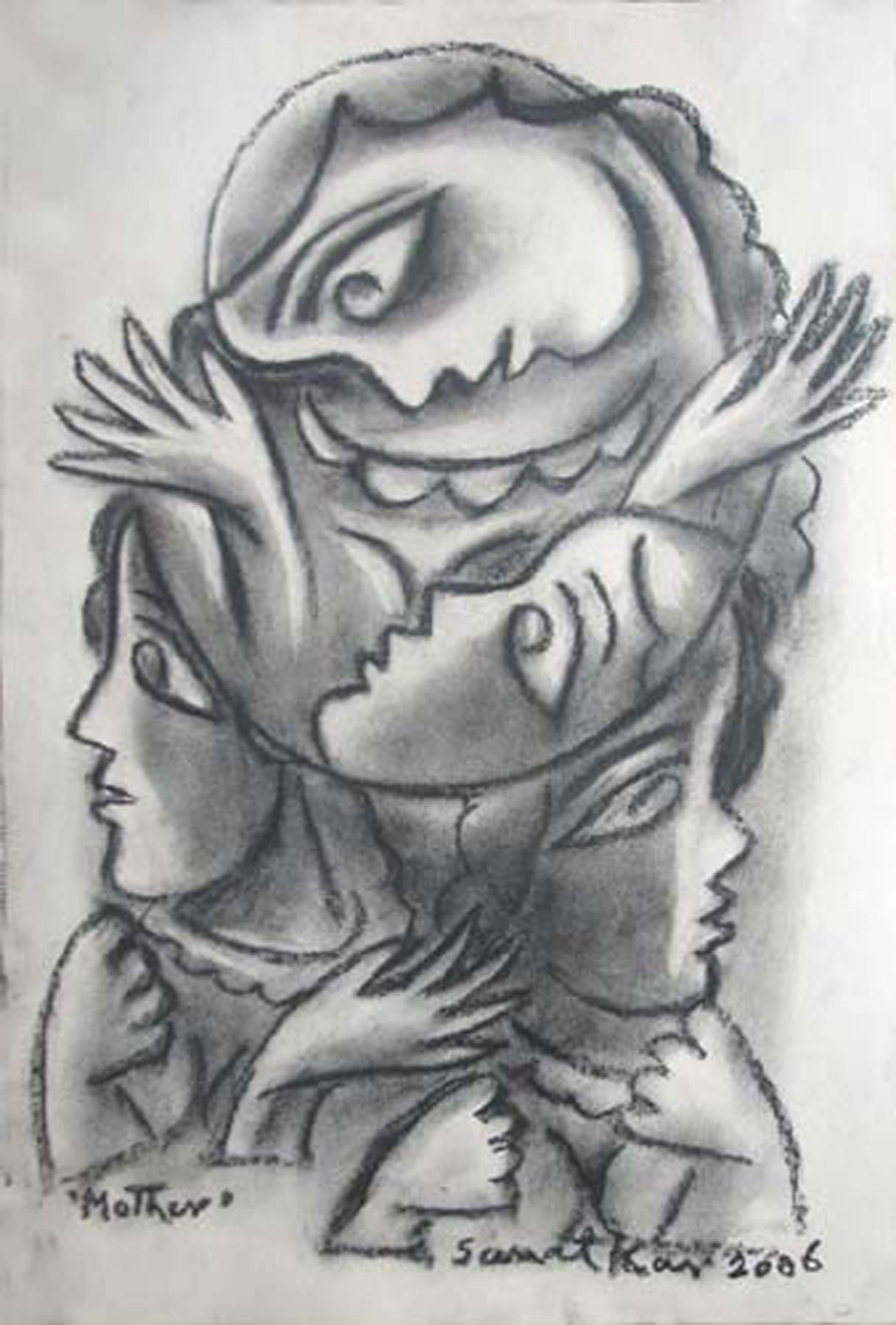 """Mother, Drawing, Mixed Media & Charcoal on paper, Black & White """"In Stock"""""""