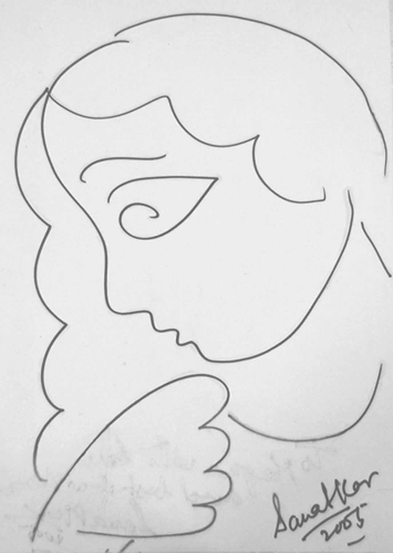 """Women, Drawing, Ink on paper, Black & White by Modern Indian Artist """"In Stock"""""""