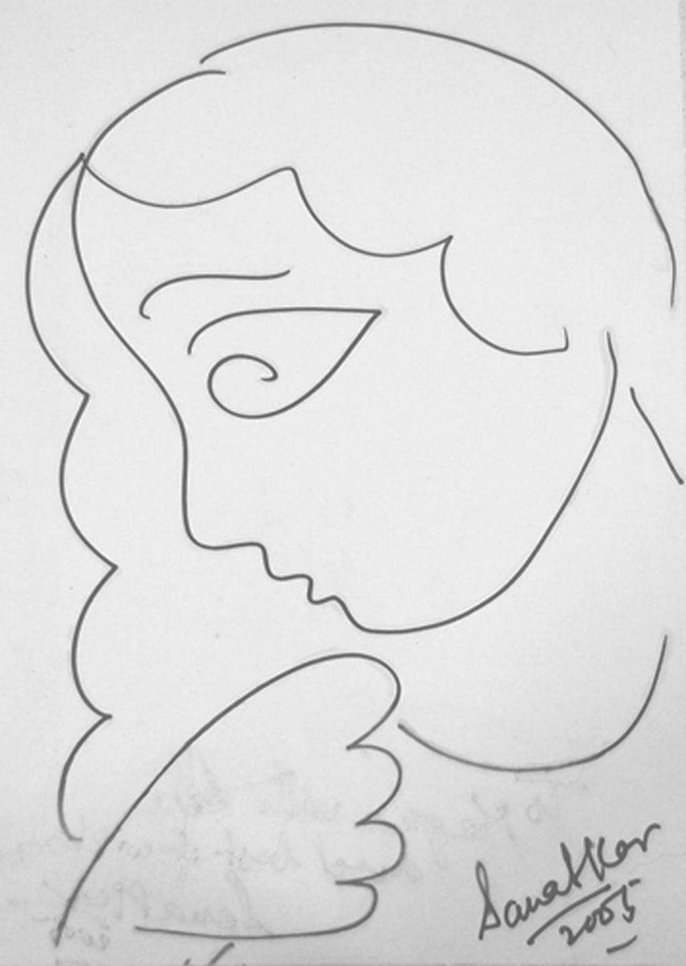 "Sanat Kar Figurative Art - Women, Drawing, Ink on paper, Black & White by Modern Indian Artist ""In Stock"""