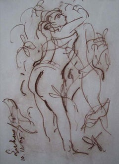 """Mistress of the moon, Conte on paper, Brown by Modern Indian Artist """"In Stock"""""""