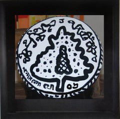 "Shora, Teracotta, Round shaped, Black & White by Modern Indian Artist ""In Stock"""