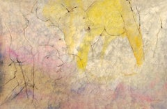 "Nude Painting, Watercolor on Rice paper, Yellow, Red by Indian Artist ""In Stock"""