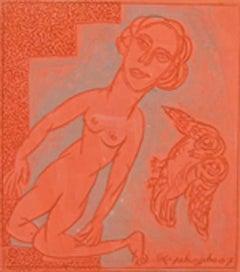 "Man & Bird,Terracotta plate by Indian artist ""In Stock"""