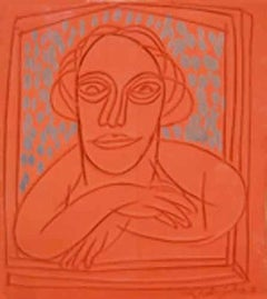 "Man in Window, Terracotta, Sculpture, Orange, Blue, Grey colors ""In Stock"""