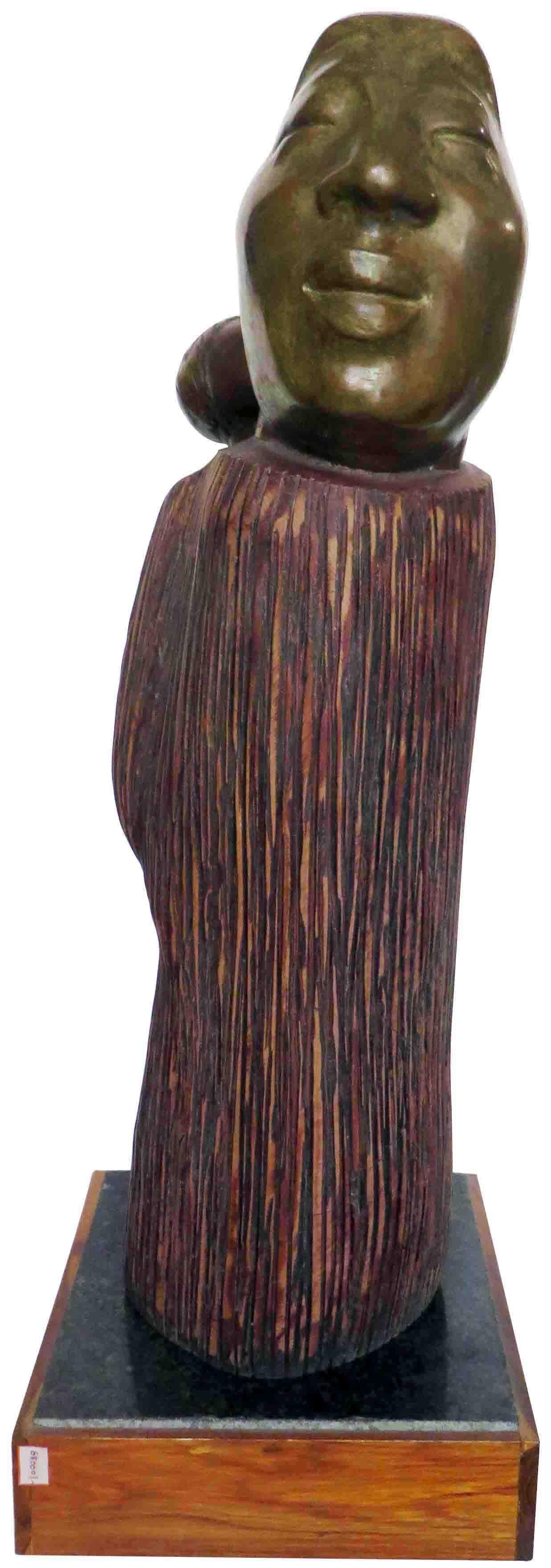 """""""A burden I Love to carry"""", Mother-Child,Tribal, Sculpture,Wood,Bronze""""In Stock"""""""