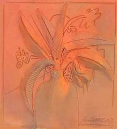 "Flower Vase, Terracotta, Sculpture, Orange, Black  by Indian Artist ""In Stock"""