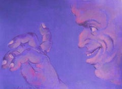 """Human Form, Multi-faceted, Acrylic on paper, Violet, Blue, Red colors """"In Stock"""""""