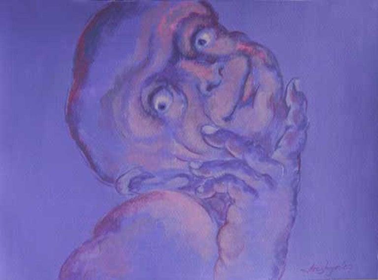 "Arghya Priya Majumdar Figurative Painting - Human Form, Multi Faceted, Acrylic Painting, Blue, Violet, Red colors ""In Stock"""