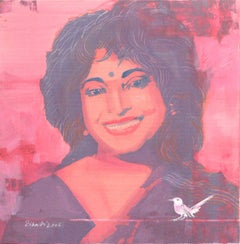 "Potrait, Mixed Media Painting, Red, Pink, Black, White Indian Artist ""In Stock"""