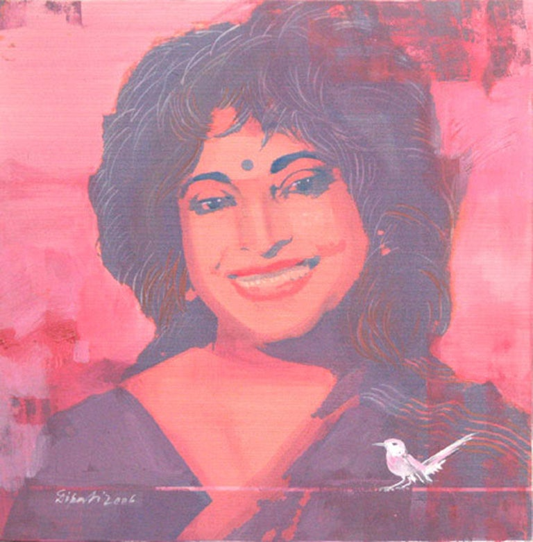 """Potrait, Mixed Media Painting, Red, Pink, Black, White Indian Artist """"In Stock"""" - Mixed Media Art by Dipali Bhattacharya"""