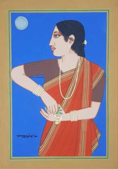 "Bengali Women, Tempera on Board, Red, Brown, Blue by Master indian Art""In Stock"""