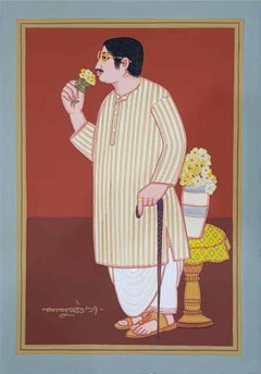 "Bengali Babu, Old Bengal, Tempera on Board, Red, Brown, Yellow, White ""In Stock"""