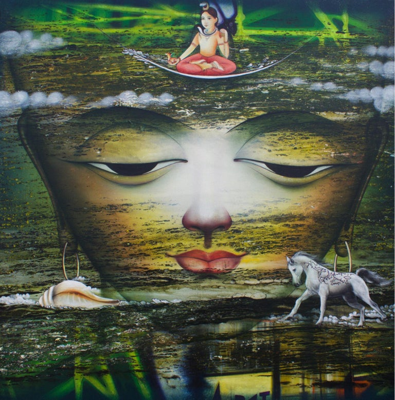 "Dharmendra Rathore Figurative Painting - Vishwaroopam, Indian Mythology, Mixed Media, Green, Red, Yellow, Blue ""In Stock"""