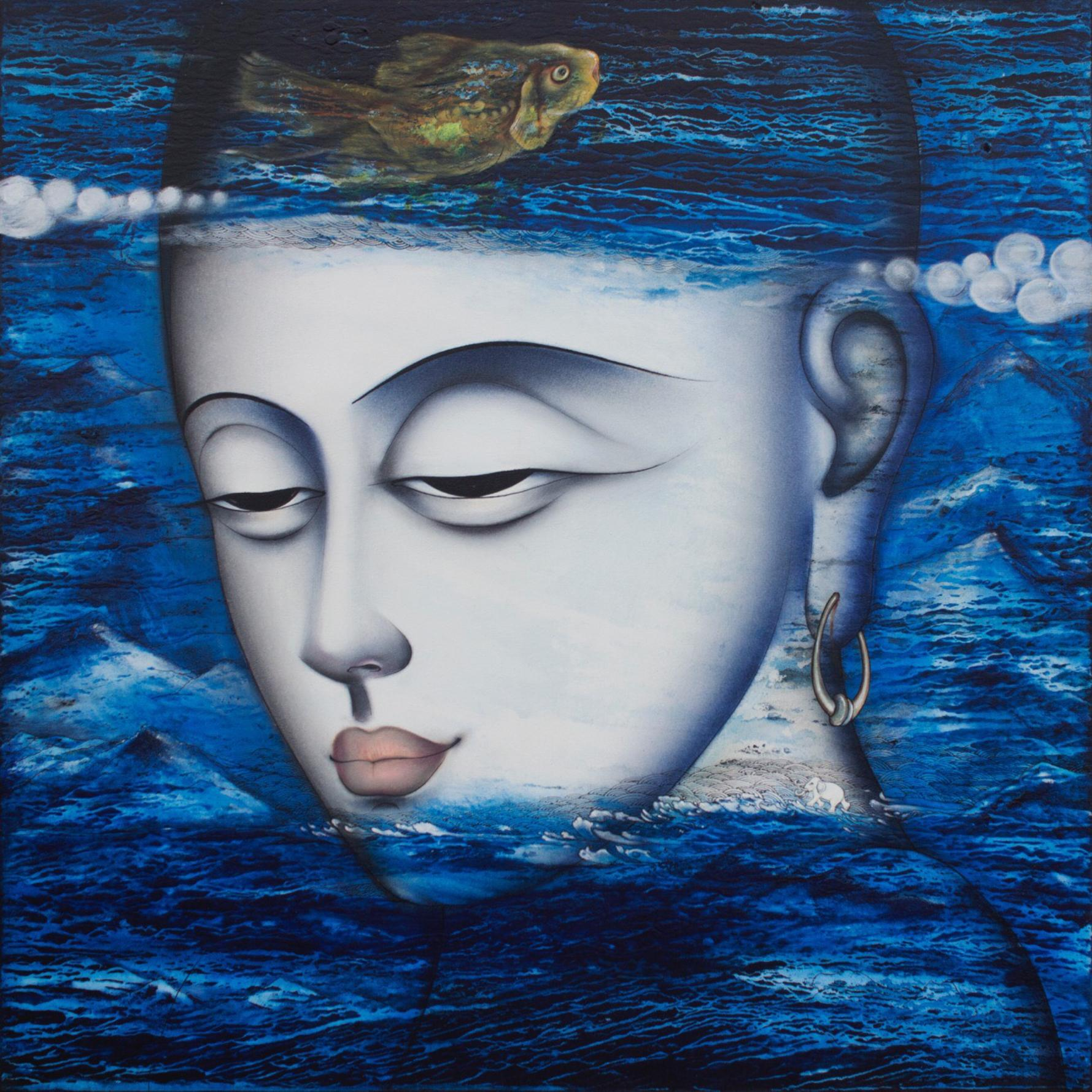 """Apaam nidhi, Mixed Media Painting, Blue, White, Green by Indian Artist""""In Stock"""""""