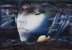 "Jeevanamrit, Mythology, Mixed Media Painting, Blue, Green, White ""In Stock"""