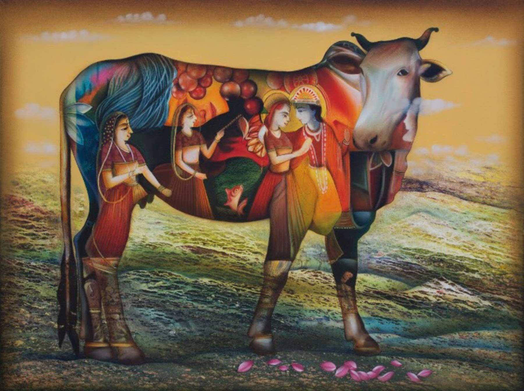 "Kamdhenu 5, Hindu Goddess, Mixed Media, Red, Yellow, Blue, Green, Pink""In Stock"""