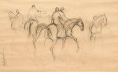 """Early Horses X, Charcoal Drawing, Brown, Black by Padmashree Sunil Das""""In Stock"""""""