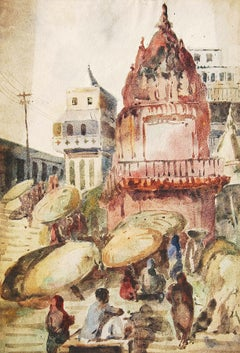 "Benaras, Spiritual, Watercolor Painting, Red, Brown, Yellow, Green ""In Stock"""