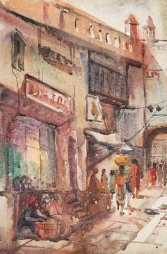 """Benaras, Holy City, Watercolor Painting, Red, Brown, Blue by Sunil Das""""In Stock"""""""