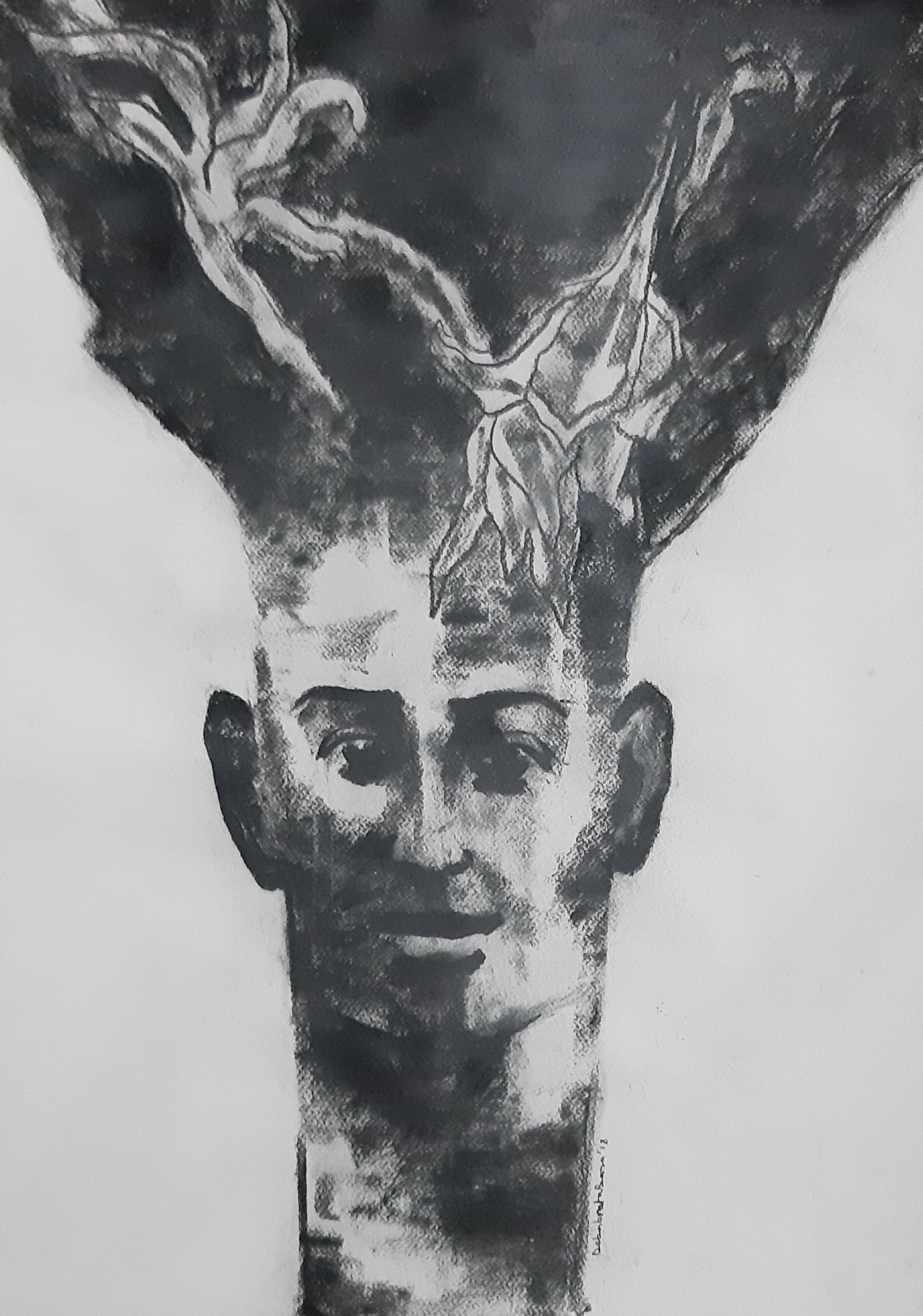 """Being one with Nature I, Charcoal on Paper  Black & White painting  """"In Stock"""
