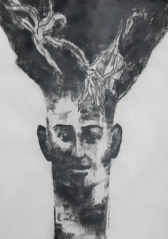 "Being one with Nature I, Charcoal on Paper  Black & White painting  ""In Stock"