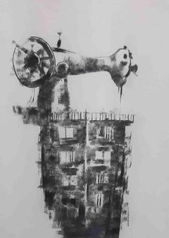 "Survival I, Sewing Machine, Charcoal on Fabriano Paper, Black, White ""In Stock"""