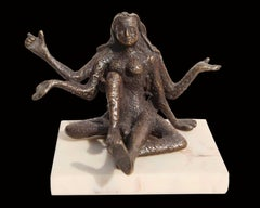 "Goddess of Strength & Power, Bronze, Sculpture, Brown by Indian Artist ""In Stock"