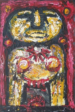 "Deity, Acrylic on Acrylic Sheet, Red, Yellow by Modern Indian Artist ""In Stock"""