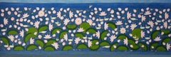 "Lotus Pond, Wash on Cloth, Pink, Blue, Green by Indian Artist ""In Stock"""