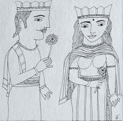 "50th Wedding Anniversary, King & Queen, Ink on paper by Indian Artist ""In Stock"""