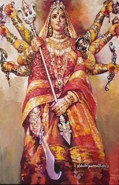 "Durga, Ikon, Acrylic on Canvas, Red, Yellow Color by Indian Artist ""In Stock"""