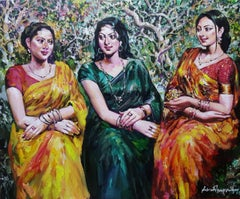 "Gossip of Three Women in Garden, Acrylic on Canvas, Green, Red, Yellow""In Stock"""