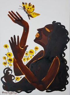 """Lady playing with Yellow Butterfly, Watercolour & Ink on Paper, Brown """"In Stock"""""""