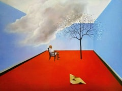 """Man Seated, Acrylic on Canvas, Red, Blue by Indian Artist """"In Stock"""""""