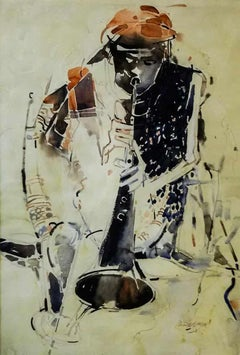 """Snake Charmer, Watercolor on paper, Brown, Black by Indian Artist """"In Stock"""""""