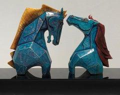 "Caressing - 5, Horses, Fibre Glass, Blue, Gold, Contemporary Artist ""In Stock"""
