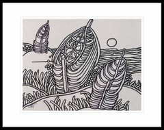 "Seascape, Digha Beach, Sandy Beach, Ink on paper by Indian Artist ""In Stock"""