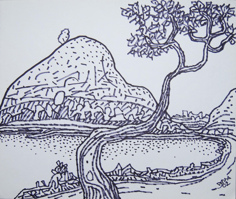 Prokash karmakar landscape drawing village