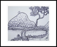 "Landscape Drawing, Village Scenery, Ink on paper, Bengal Master Artist""In Stock"""