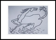 "Horse, Animal Drawing, Ink on paper, Black & White by Indian Artist ""In Stock"""