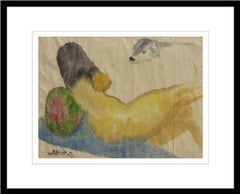"Reclining, Nude Woman, Sunbathing, Watercolor, Blue, Yellow, Green ""In Stock"""