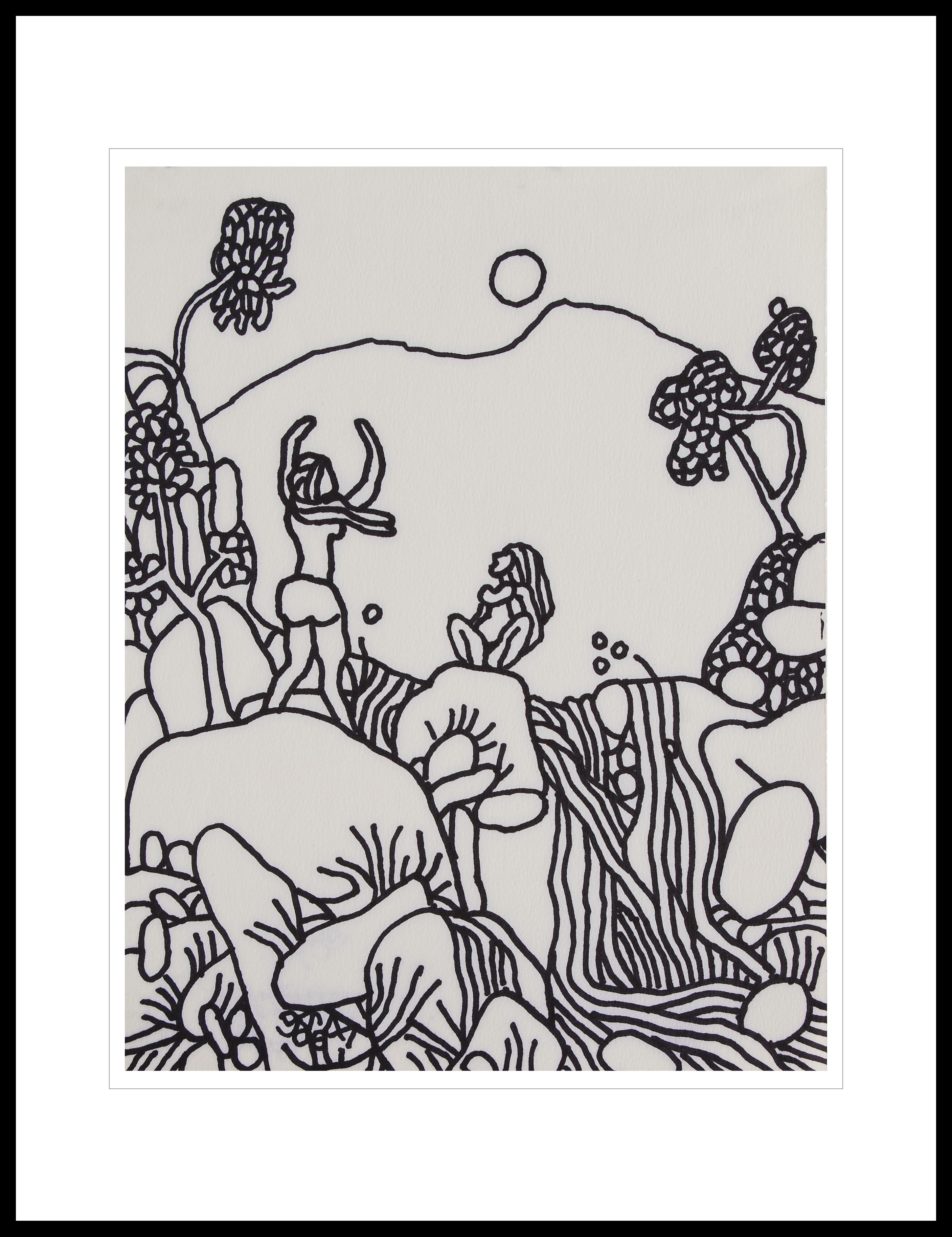 """Landscape, Drawing, Ink on paper, Black, White By Master Indian Artist""""In Stock"""""""