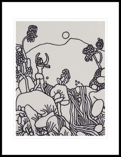 "Landscape, Drawing, Ink on paper, Black, White By Master Indian Artist""In Stock"""