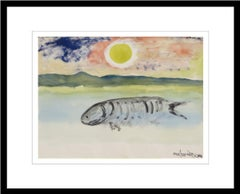 """Fish, Watercolor on paper, Yellow, Blue, Green by Master Artist """"In Stock"""""""