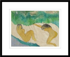 """Women Bathing, Nude, Watercolor on Rice Paper, Green, Grey, Browncolor""""In Stock"""""""